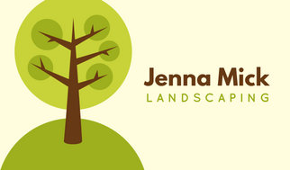 Cream and Green Illustrated Landscaping Business Card