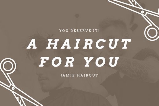 Brown men hairstyling hair salon gift certificate templates by canva yadclub Image collections