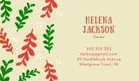 Red Green Leaves Christmas Business Card