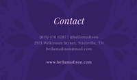 Dark Violet Floral Patterned Cosmetologist Business Card