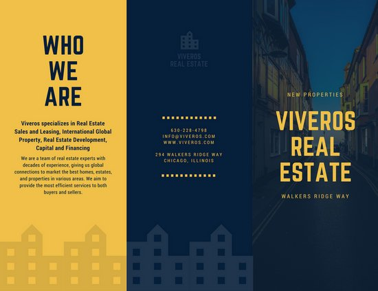 Dark blue and yellow houses real estate tri fold brochure templates by canva for Canva brochure maker