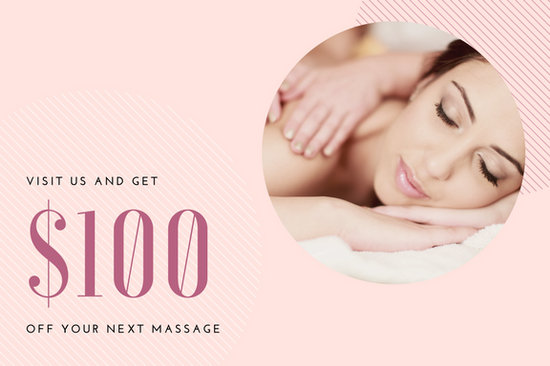Pink cirles and lines massage gift certificate templates by canva yadclub Images