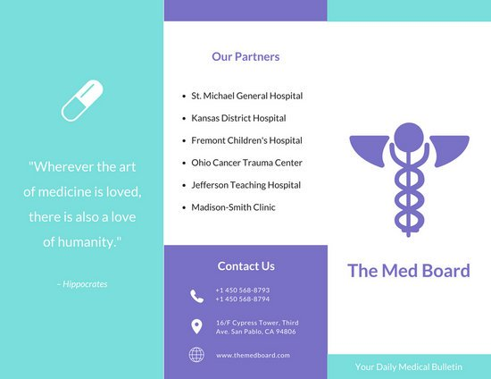 Aqua And Purple Medical Trifold Brochure Free Templates By Canva