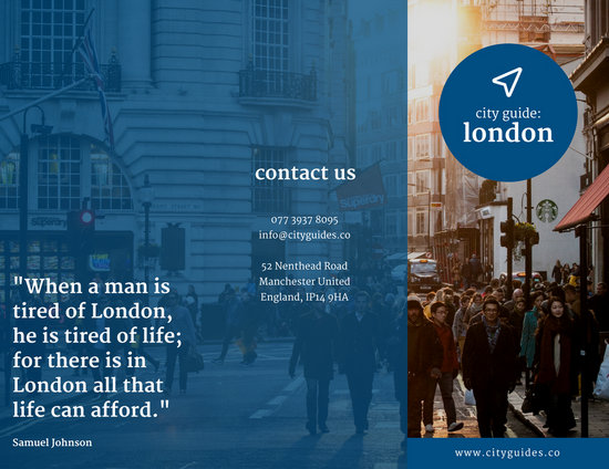 Blue Tourist Photo Travel Trifold Brochure Templates By Canva