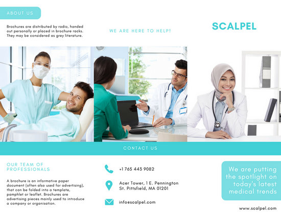 medical brochure template - aqua and white medical trifold brochure templates by canva