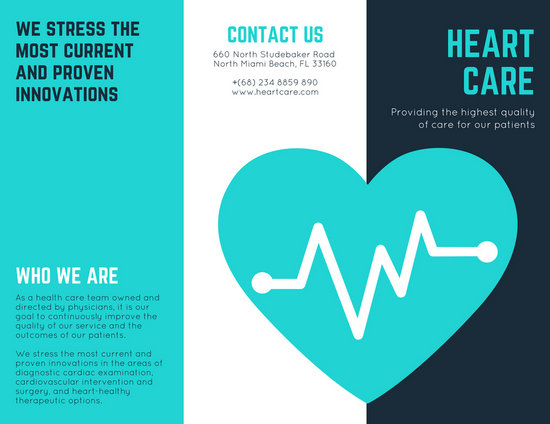 Turquoise Heart Vector Medical Brochure - Templates by Canva