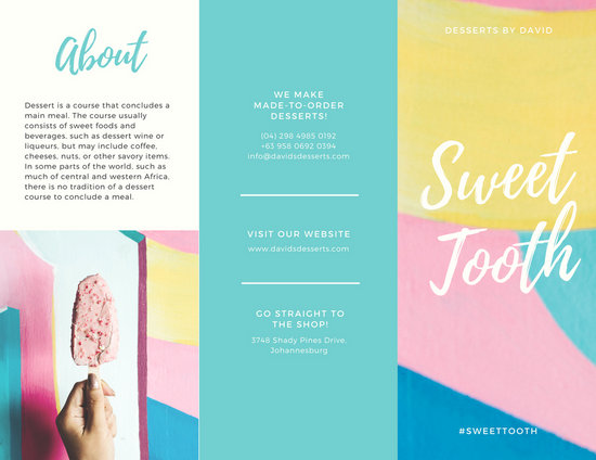 product brochure template free - pastel dessert product tri fold brochure templates by canva
