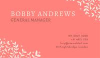 Modern Pink Floral Illustration Logo Business Card