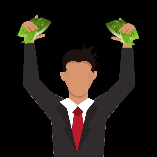 homem com dinheiro de um plano financeiro