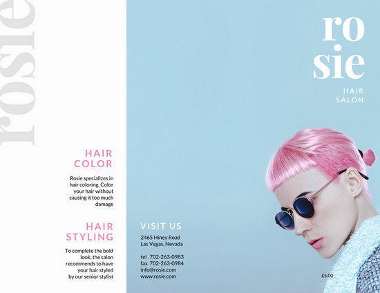 Pink And Light Blue Woman With Pink Hair Pamphlet Trifold