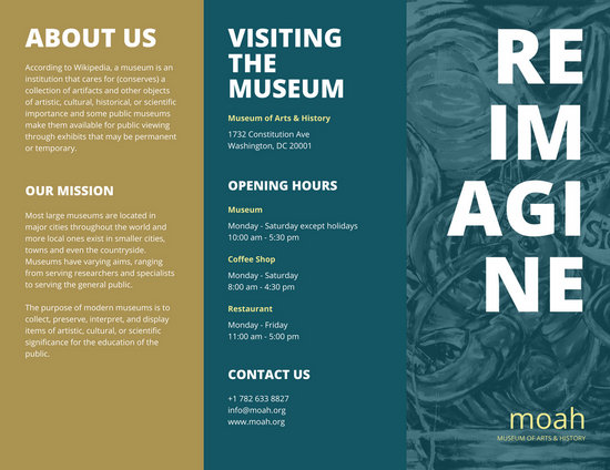 Dark teal museum pamphlet tri fold brochure templates by for Science brochure template