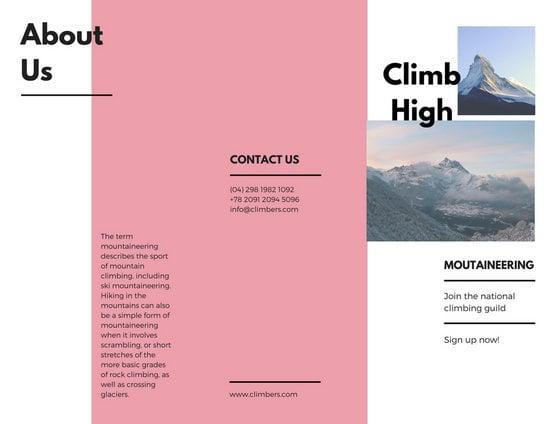 pamphlet brochure template pink minimal travel modern pamphlet trifold brochure