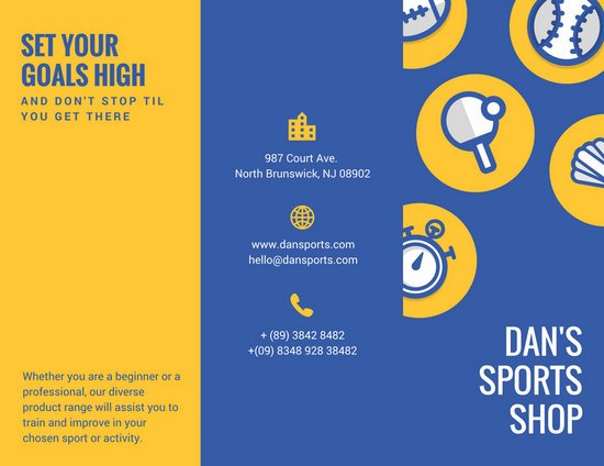 Blue Yellow Illustrated Ball Sports Sales Trifold Brochure