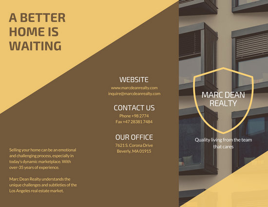 brown yellow modern real estate trifold brochure