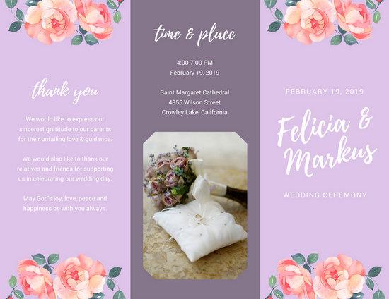 lilac floral photo wedding ceremony brochure