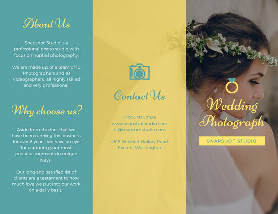 bright teal and yellow wedding trifold brochure