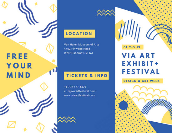 yellow and blue modern art festival pamphlet trifold