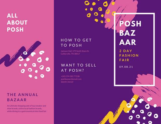 pink purple paint bazaar pamphlet brochure