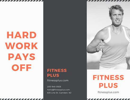 Grayscale And Coral Fitness Gym Trifold Brochure  Templates By Canva