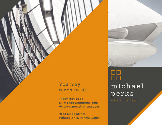 Dark Grey  Orange Corporate Law Firm Trifold Brochure  Templates