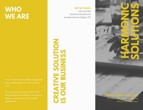 Black and yellow big typography corporate trifold brochure black and yellow big typography corporate trifold brochure templates by canva saigontimesfo