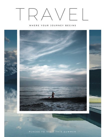Minimalist Book Cover Template : White minimalist travel magazine templates by canva