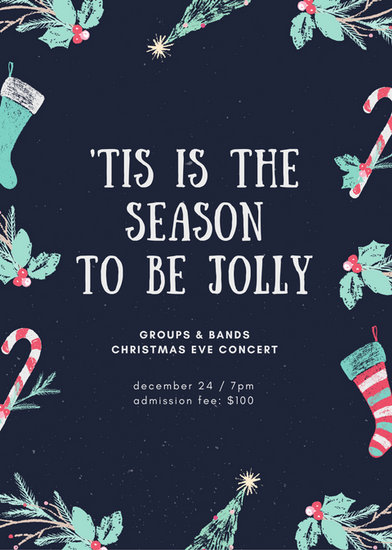 Dark Blue Chalk Decor Christmas Flyer - Templates by Canva