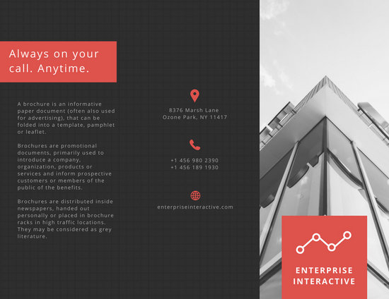 charcoal and red greyscale business trifold brochure