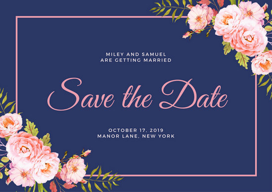 navy blue floral save the date postcard