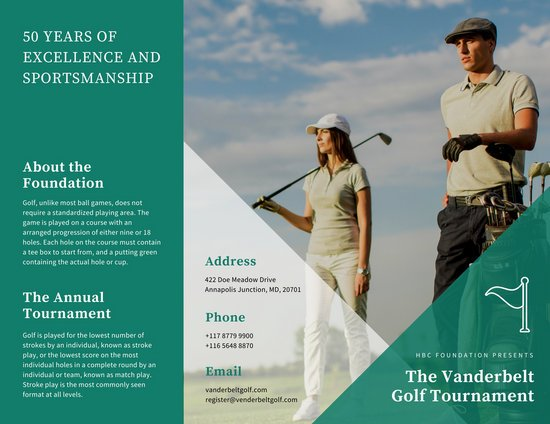 Blue Green And White Triangles Golf Tournament Trifold Brochure