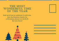 Blue Red and Yellow Christmas Party Save The Date Postcard