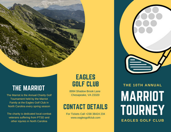 Blue Green Photo Illustrated Golf Tournament Trifold Brochure
