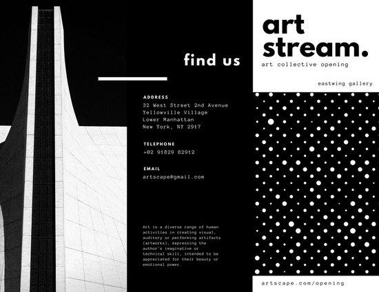 Black And White Art Dots Architecture Creative Tri Fold Brochure