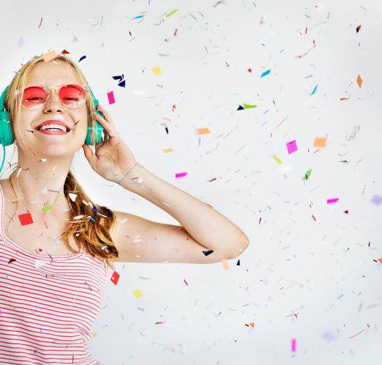 Girl Headphone Music Confetti Happiness Concept