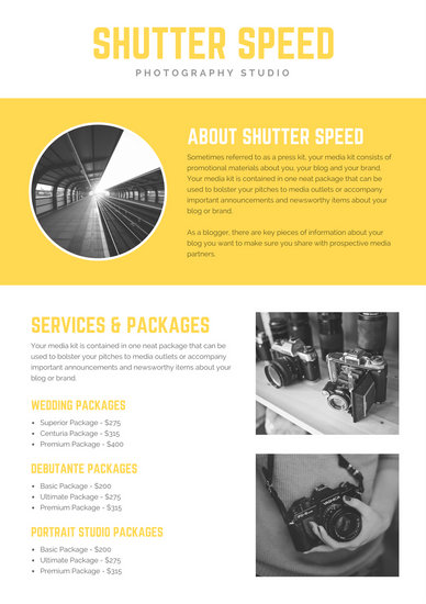 Yellow with Grayscale Photos Photographer General Media Kit