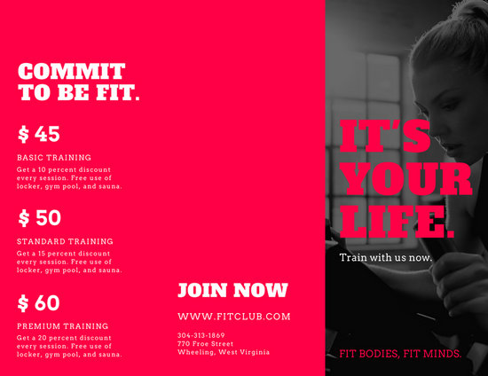 Pink Black And White Gym Photos Fitness Brochure  Templates By Canva