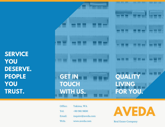 Blue And Yellow Modern Real Estate Brochure Templates By Canva