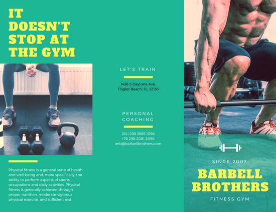 Green And Yellow Fitness Brochure  Templates By Canva