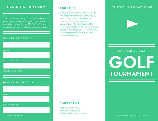 White And Green Golf Tournament Brochure  Templates By Canva