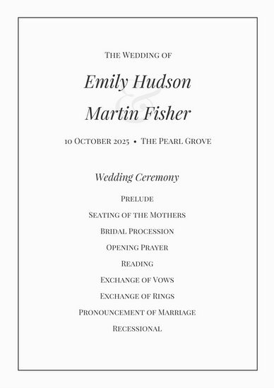 Black And White Classic Wedding Program  Templates By Canva