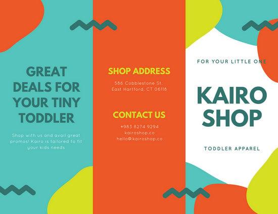 Orange Blue Shop Creative Trifold Brochure Templates By