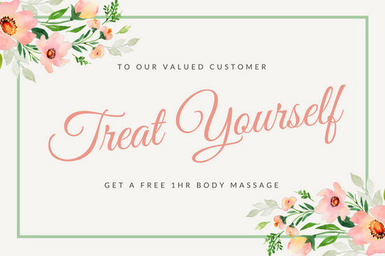 pink watercolor floral massage gift certificate