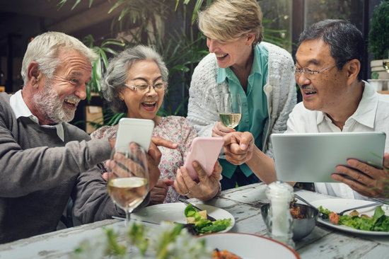 Elderly People on a Gathering Using Devices