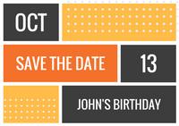 Orange Blocks with Dots Bold Birthday Save the Date Postcard