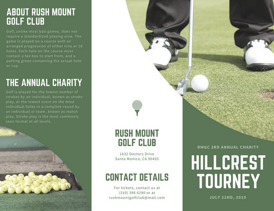 Green golf tournament trifold brochure templates by canva spiritdancerdesigns Images