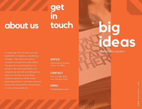 Orange Stripes Marketing Trifold Brochure  Templates By Canva