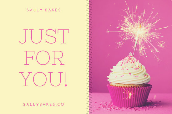 Pink And Pale Yellow Cupcake Birthday Gift Certificate  Templates