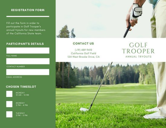 Green Photo Background Golf Tournament Trifold Brochure  Templates