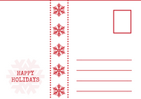Red and White Snowflakes Holiday Postcard