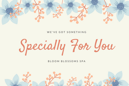 Blue and peach floral massage gift certificate templates by canva yadclub Images